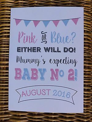 PINK OR BLUE BABY NUMBER 2 colourful PREGNANCY ANNOUNCEMENT print photo prop