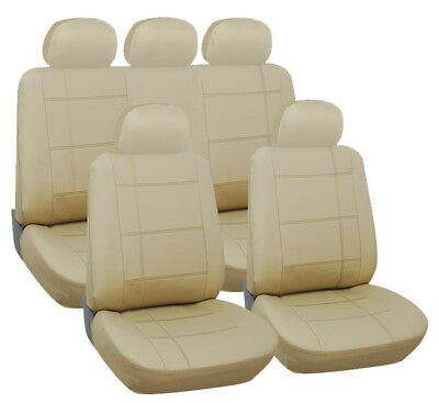 Jaguar X-Type Saloon 01-10 Luxury Beige Leather Look Seat Cover Set