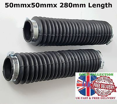 Pair Of Black Motorcycle Fork Rubber Gaiters boots Gaitor Size 280mm x 50mm