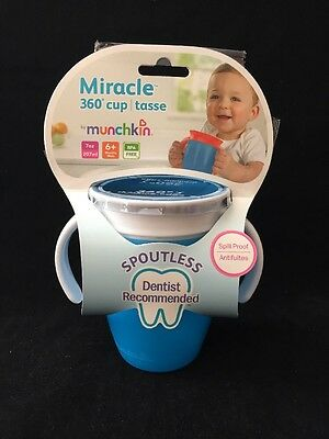 Munchkin Miracle 360 Drinking Cup, 7oz, Spill Proof, Blue, 6 Month+, New