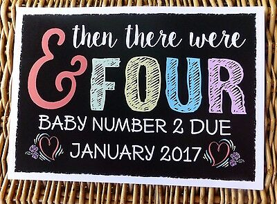AND THEN THERE WERE FOUR chalk style PREGNANCY ANNOUNCEMENT print photo prop 4