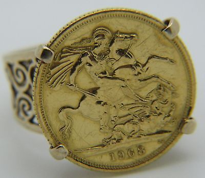 Solid 9ct & 22ct Yellow Gold Elizabeth II 1968 Full Sovereign Coin Ring Size V