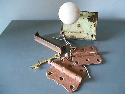 Antique White Porcelain Door Knob Set, Lockset, 2 Door Hinges, Key