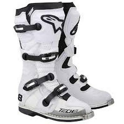 New Alpinestars Tech-8 Light Adult Motocross/Offroad Boots, White/Vented, US-9