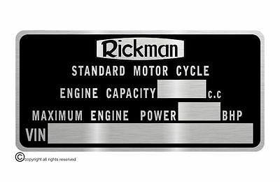 RICKMAN MOTORCYCLE  data plate quality vin-tage new