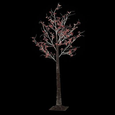 7ft Berry Effect Christmas Twig Tree Pre-lit 120 LED XMAS Lights Indoor/Outdoor