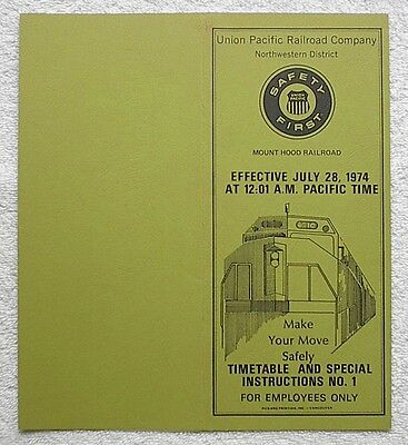 MH - Mount Hood Railroad Co. Timetable and Special Instructions #1 July 1, 1974