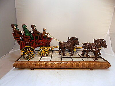 Vintage Cast Iron 4 Horse Drawn Carriage Wagon Driver & 6 Passengers Collectible