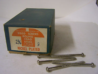 """#9 x 2 3/4"""" Round Head Nickel Plated Steel Wood Screws Slotted Qty. 140"""