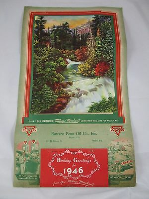 Vintage 1946 Conoco Eastern Penn Oil Co Gas Calendar York PA Nature Print NOS