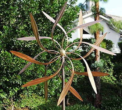 Stanwood Wind Sculpture: Large Kinetic Copper Dual Spinner - Dancing Willow 3-ft