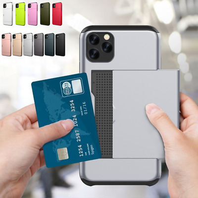 Slim Hybrid Shockproof Rubber+PC Cover Card Holder Armor Case For iPhone 8 6s 7