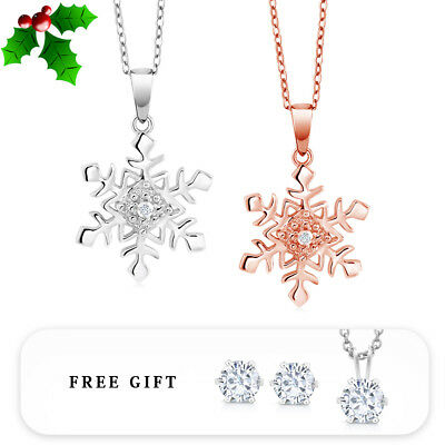 Diamond Accent Rhodium or 14K Rose Gold Plated Snowflake Pendant with Gift