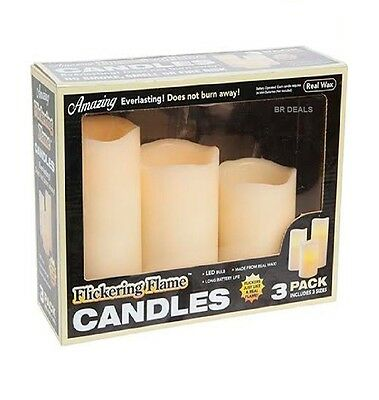 Pack Of 3 Real Wax Flickering Candles Battery Operated