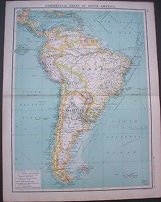 1903 Commercial Chart Of South America Brazil Argentina Bartholomew Antique Map