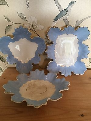 Vintage  'Wedgwood Blue Colour' Group Of 3 Decorative Plates Or Serving Dishes