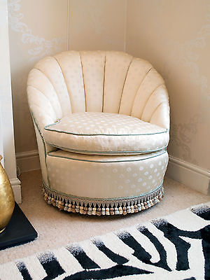 Superb 1920's Art Deco Mulberry Silk Covered Fan Armchair