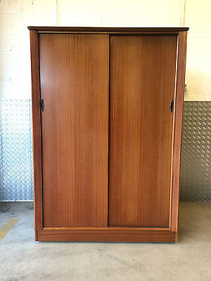 1960's TEAK SLIDING DOOR WARDROBE