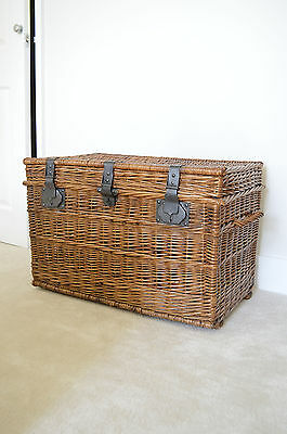 Large Antique French Wicker Trunk C.1900