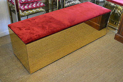 1970s MIRRORED VELVET DRESSING ROOM BENCH WINDOW SEAT