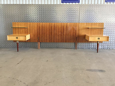 Italian 1950'S King Size Headboard With Bedside Cabinets