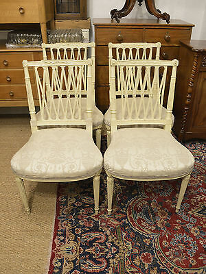 Vintage Painted Hepplewhite Style Dining Chairs X4