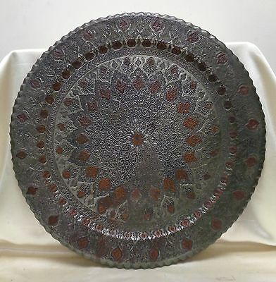 Antique Persian Isfahan Metal Tray w. Very Intricately Engraved Floral Mandala