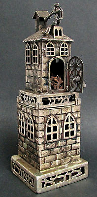 "Exceptional Silver ""fiddler Of The Roof"" Spice Box 2 Piece Tower"