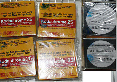 HUGE Double Super 8 mm Kodachrome 25 and 40  film LOT 8 reels  DS-8