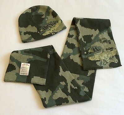 Kids Green Camo Print Skate Beanie Hat + Scarf Set by Ladybird. FREE UK DELIVERY