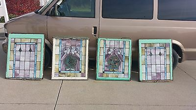 2 Sets Vintage Stained Glass Windows Flint Michigan Scare Pink & In Good Cond.