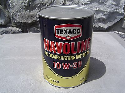 Vintage 10W30 TEXACO HAVOLINE motor oil full quart can