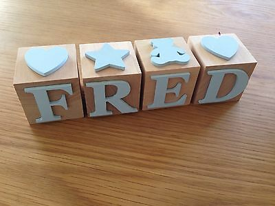 Name Letter Block, Natural Wood with Blue Letters