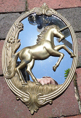Brass Unicorn Oval Wall Mirror Plaque Fantasy 3D Floral Frame Mythical Vintage