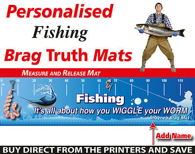 Personalised Fishing Measure And Release Mat Funny Worm Wiggle Fish Brag Mat