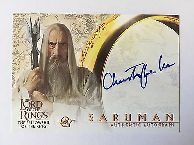 Topps FOTR Lord Of The Rings Christopher Lee as Saruman Autograph Card LOTR Auto