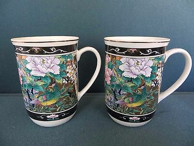 MING DYNASTY  Heritage Mint JAPAN Two (2) Tea Cups Gold & Black Birds Flowers