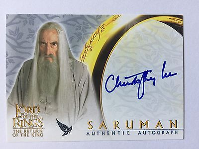 Topps ROTK Lord Of The Rings Christopher Lee / Saruman Autograph Card LOTR Auto
