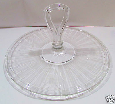 Etched Glass Cake Plate Dish with handle