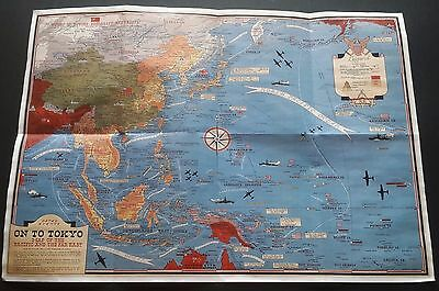 WW2 USA JAPAN ASIA PACIFIC CHINA TAIWAN PEARL HARBOR WAR MAP Propaganda POSTER