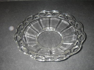 """Imperial Glass CROCHETED CRYSTAL Clear Bowl 9"""" Elegant Glassware"""