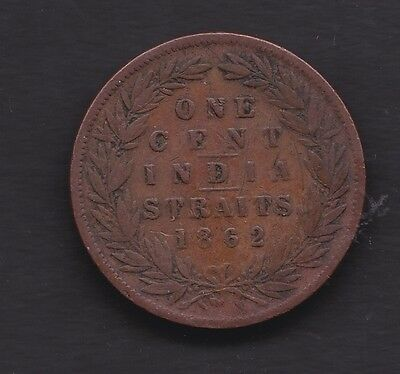 Straits Settlement 1862  India Straits 1 cent coin in v/f condition