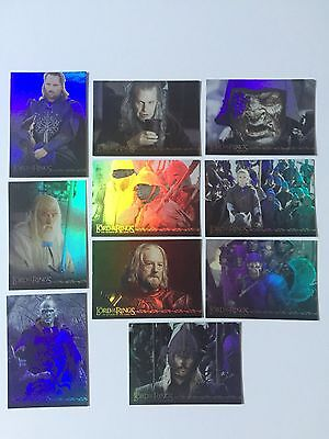 Topps Lord Of The Rings LOTR Return King ROTK 10 Card Prismatic Foil Chase Cards