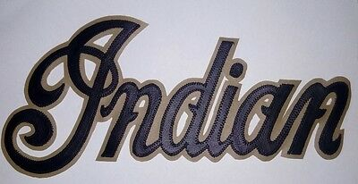 Indian motorcycle 13 inch black/tan synthetic leather back patch.A BEAUTY.NEW