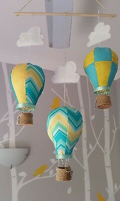 Baby mobile for childs nursery - Hot Air Balloons Yellow and Turquoise