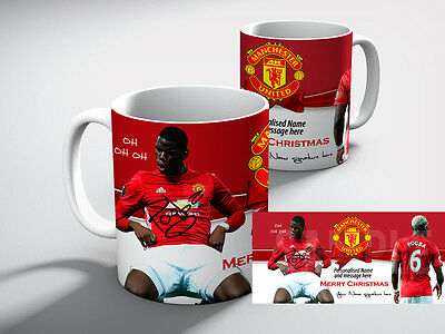 Personalised MANCHESTER UNITED Football MERRY CHRISTMAS POGBA Mug Gift
