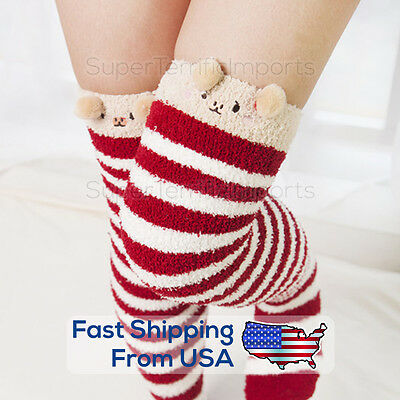 Warm Striped Knee Thigh High Stockings, Cute Cartoon Animal Socks, Thick, Winter