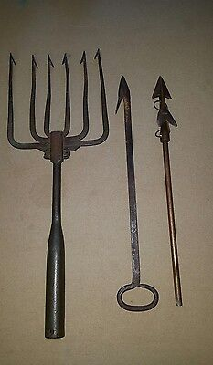 Antique Set of Whaling Harpoons/Gaff Forged Iron Authentic Vintage Maritime!
