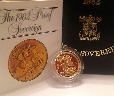 1982 Gold Proof Full Sovereign Boxed With COA
