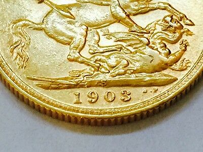 1903 Gold Sovereign - King Edward VII - Sydney-Rare Fine Condition